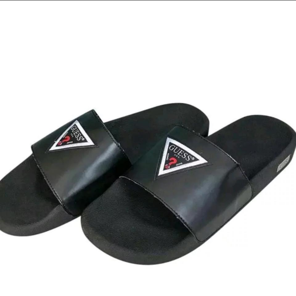 d9f91c74bcb Guess Black Men s But Can Be Unisex. Big Logo Sandals Size US 9 ...