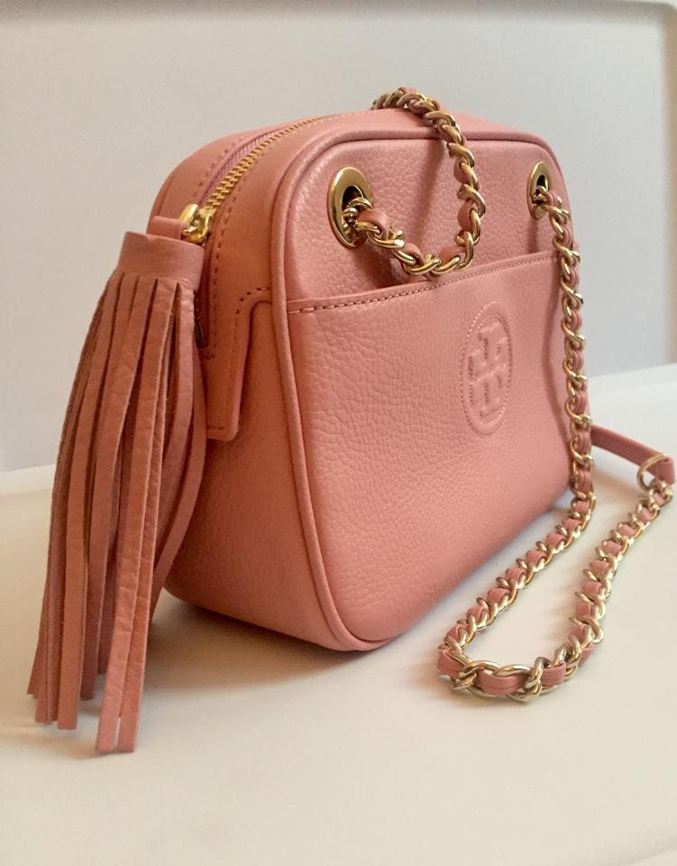 W Tory Bombe Shoulder Chain Adjustable Crossbody Leather Pink Bag Burch v71qt7wx