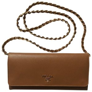 Prada Prada Saffiano Wallet on a Chain, Caramel