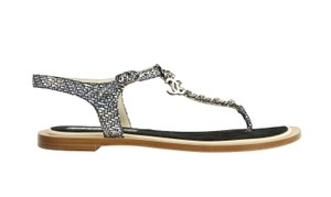Chanel Flat Chain Strappy Gladiator Silver Sandals