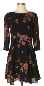 Free People short dress Black Longsleeve Floral Print Cut-out on Tradesy