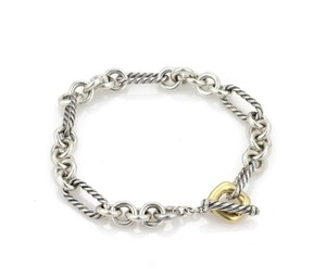 David Yurman Sterling Cable Links Toggle Clasp Chain Bracelet