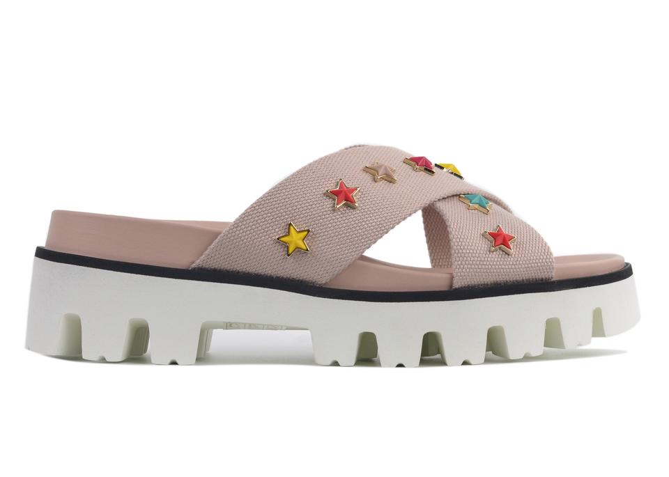 Charm Valentino Pale Canvas Pink Sandals RED Slide Strap Star xY61qnaO