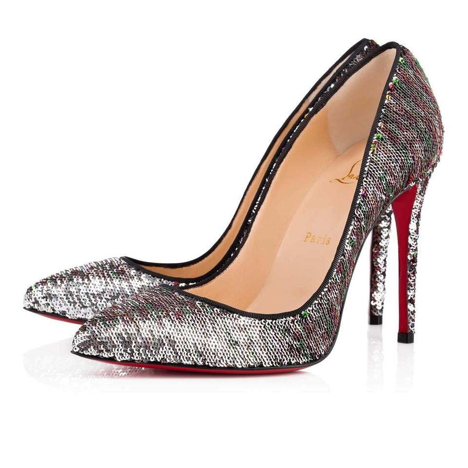 authentic quality exclusive deals best prices Christian Louboutin Silver Pigalle Follies 100 Sequin Red Green Classic  Stiletoo Heel Pumps Size EU 35 (Approx. US 5) Regular (M, B)
