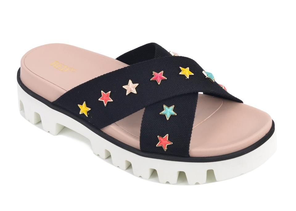 RED Valentino Black Canvas Sandals Strap Star Charm Slide Sandals Canvas e5580e