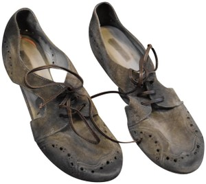 Marsèll Brogues Oxfords Chunky Heel Cut-out Gray Flats