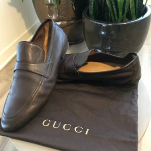 "Gucci Brown Men's Flexible Soft Leather Interlocking ""gg"" Loafers. Shoes"