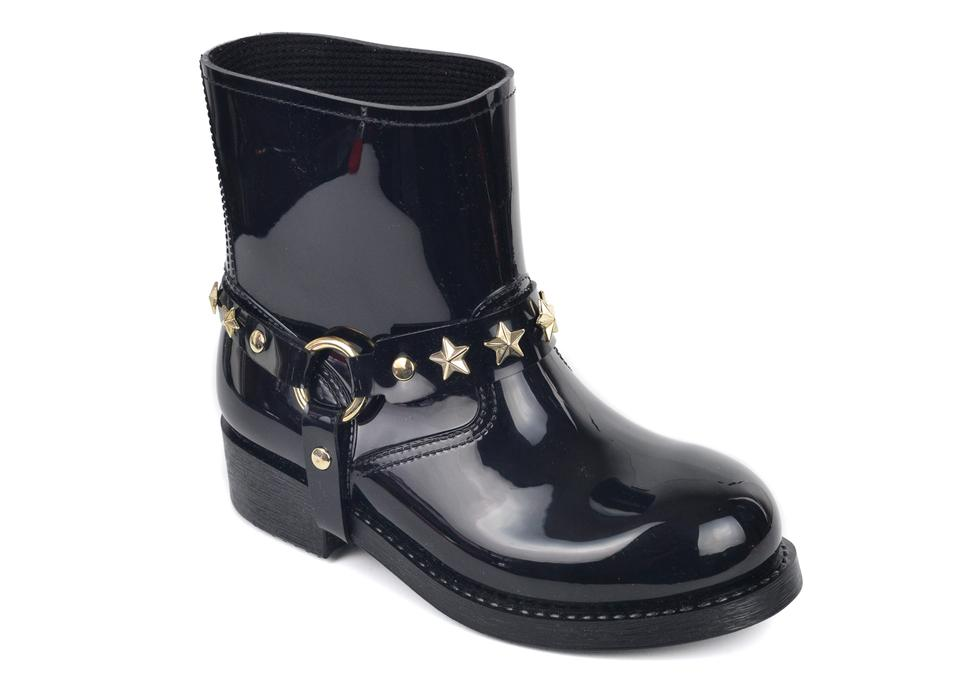 Valentino Star Brown Womens Patent Leather Star Valentino Studded Harness Rain Boots/Booties 2d1d6a