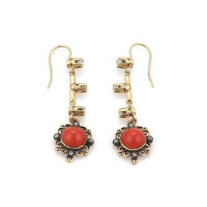Other Antique Diamond & Coral 18k Gold Floral Long Hook Dangle Earrings