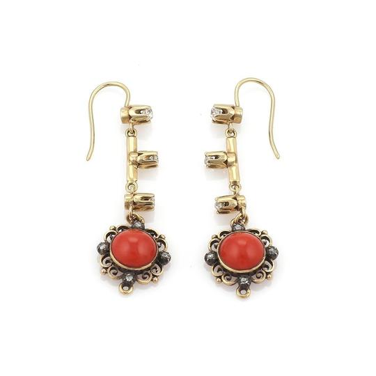 Preload https://img-static.tradesy.com/item/23824085/antique-diamond-and-coral-18k-gold-floral-long-hook-dangle-earrings-0-0-540-540.jpg