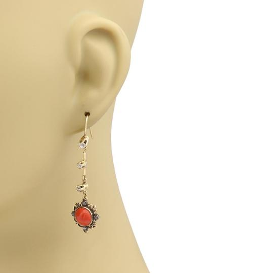 Other Antique Diamond & Coral 18k Gold Floral Long Hook Dangle Earrings Image 1