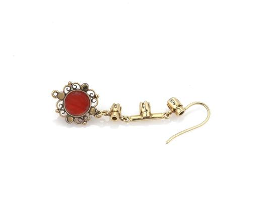 Other Antique Diamond & Coral 18k Gold Floral Long Hook Dangle Earrings Image 3