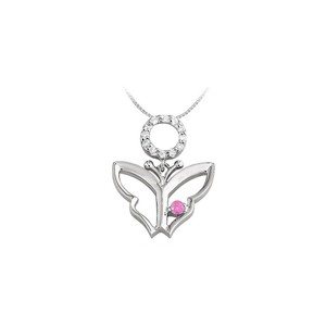 DesignerByVeronica Butterfly Pendant Necklace with CZ and Created Pink Sapphire in Sterli