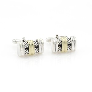 David Yurman Sterling 14k Yellow Gold Double Column Cable Stud Cufflinks