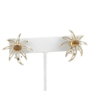 Tiffany & Co. 1995 Sterling Cabochon Citrine Fireworks Clip On Earrings