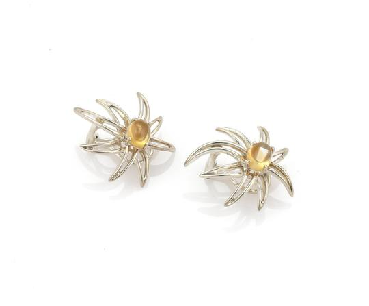 Tiffany & Co. 1995 Sterling Cabochon Citrine Fireworks Clip On Earrings Image 1