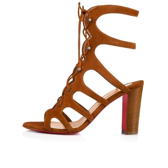 Christian Louboutin Heels Gladiator Amazoudur Caged Brown Sandals Image 1