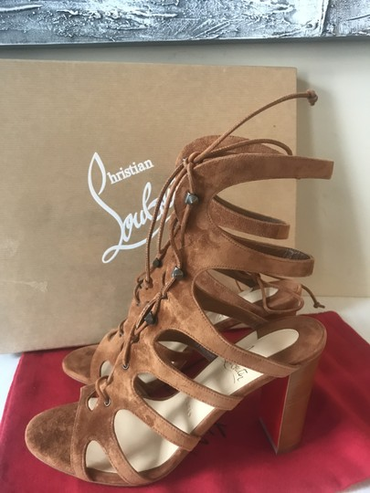 Christian Louboutin Heels Gladiator Amazoudur Caged Brown Sandals Image 10