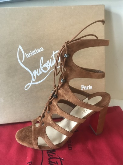 Christian Louboutin Heels Gladiator Amazoudur Caged Brown Sandals Image 11