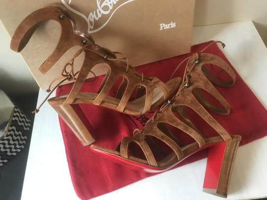 Christian Louboutin Heels Gladiator Amazoudur Caged Brown Sandals Image 5
