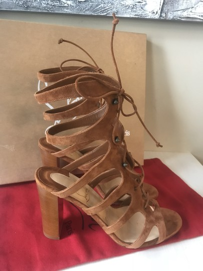 Christian Louboutin Heels Gladiator Amazoudur Caged Brown Sandals Image 7