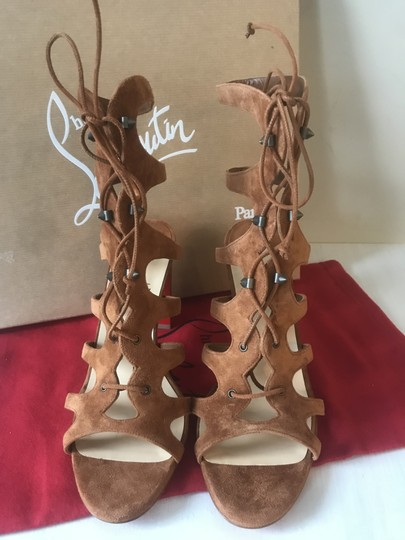Christian Louboutin Heels Gladiator Amazoudur Caged Brown Sandals Image 9
