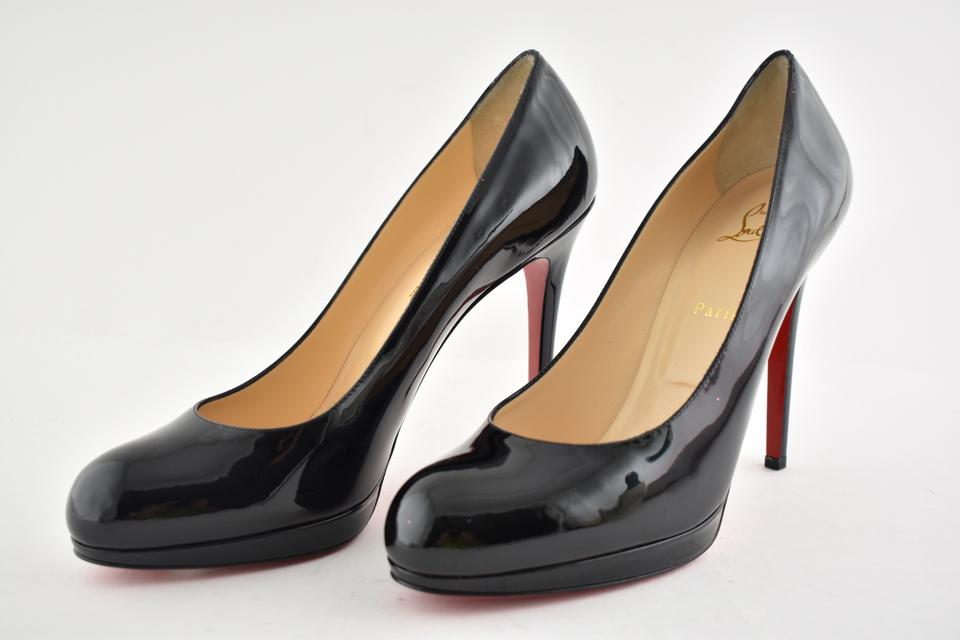 New Platform Black Heel Leather Stiletto 120 Simple Louboutin Classic Pumps Christian Patent HTUqSwUB