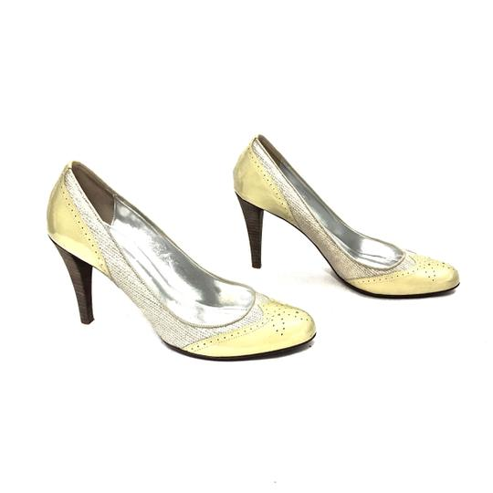J.Crew Patent Leather Canvas Wooden Heels Oxford Yellow & Beige Pumps Image 0