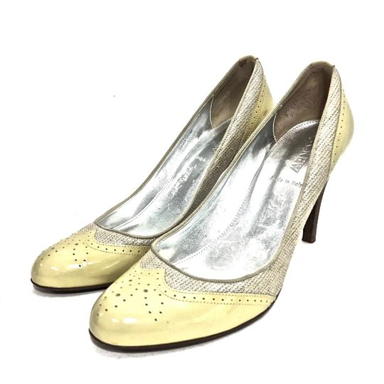 J.Crew Patent Leather Canvas Wooden Heels Oxford Yellow & Beige Pumps Image 3