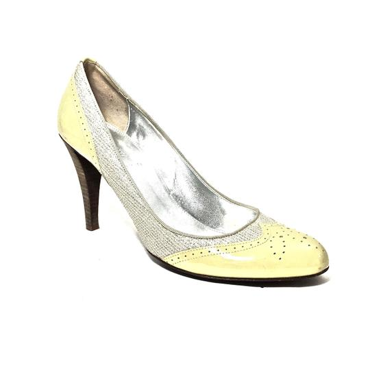 J.Crew Patent Leather Canvas Wooden Heels Oxford Yellow & Beige Pumps Image 5