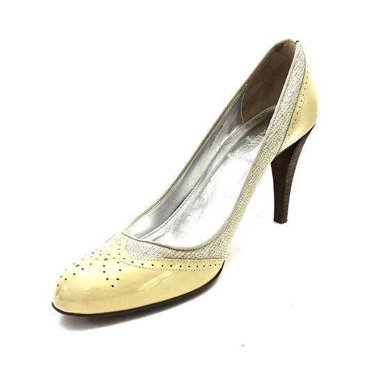 J.Crew Patent Leather Canvas Wooden Heels Oxford Yellow & Beige Pumps Image 6