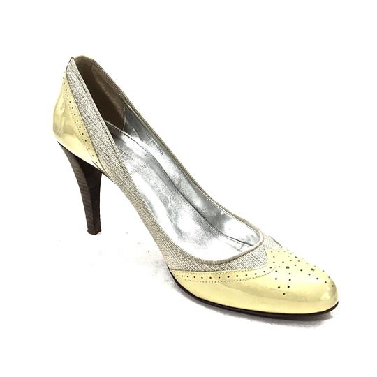 J.Crew Patent Leather Canvas Wooden Heels Oxford Yellow & Beige Pumps Image 7
