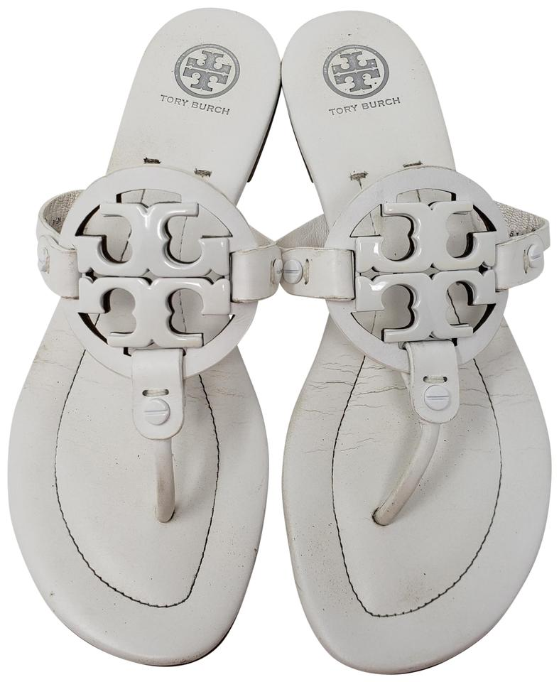 b40acfe65 Tory Burch White Leather Miller 2 Flat Sandals Size US 8.5 Regular ...