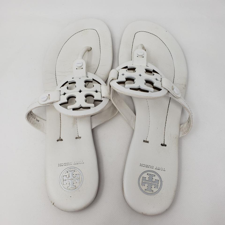 f9320186315 Tory Burch White Leather Miller 2 Flat Sandals Size US 8.5 Regular ...