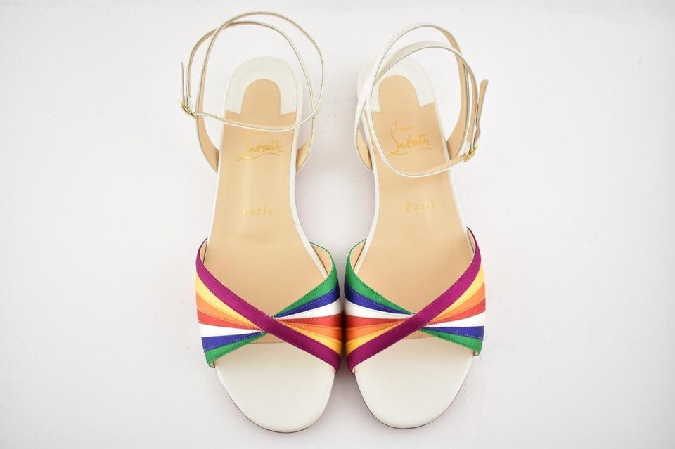 07428e15b82 ... Sandals Naseeba Ankle Multicolor Flat Latte Slide Rainbow Red White Christian  Louboutin Strap Eqw4a8P ...