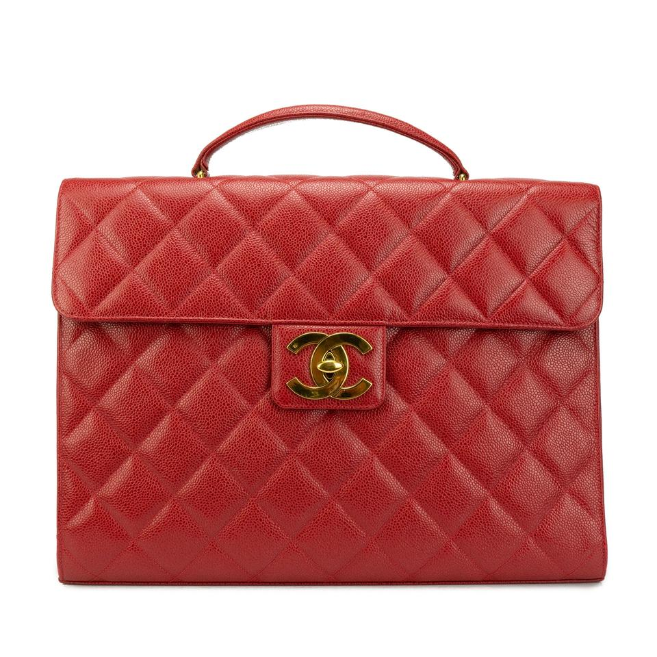 86d17966653f67 Chanel Classic Flap Vintage 90s Briefcase Portfolio Executive Red ...