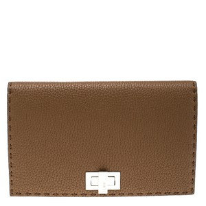 Fendi Leather Suede Brown Clutch