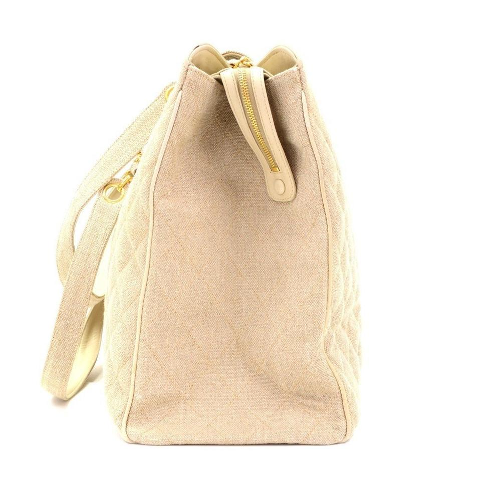 7820973c5da106 Chanel Supermodel Tote Vintage 90s Overnight Beige Canvas Weekend ...