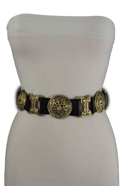 Item - Black Gold Faux Leather Women Metal Charms Moroccan Ethnic Style Belt