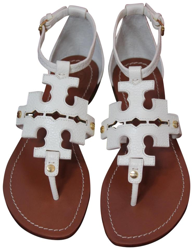 fe21662da Tory Burch Ivory White New Leather Logo Flats Summer Sandals Size US ...