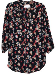 Amour Vert Floral Floral Top Navy
