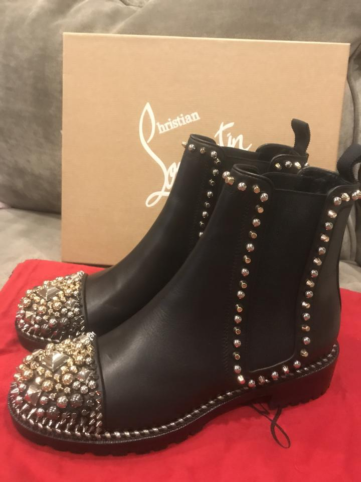 Louboutin Chelsea A Chasse Black Boots Flat Ankle Studded Clou Booties Christian Leather dfyKpd