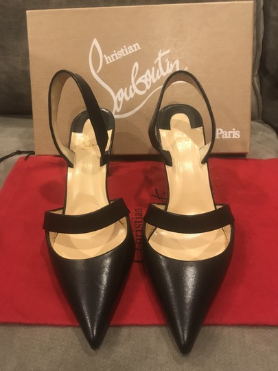 cheaper b2bb1 7b896 Christian Louboutin Black Actina 85 Leather Slingback Sling Pumps Sandals  Size EU 38.5 (Approx. US 8.5) Regular (M, B) 19% off retail
