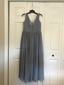 Azazie Dusty Blue Chiffon Keyla Traditional Bridesmaid/Mob Dress Size 12 (L)