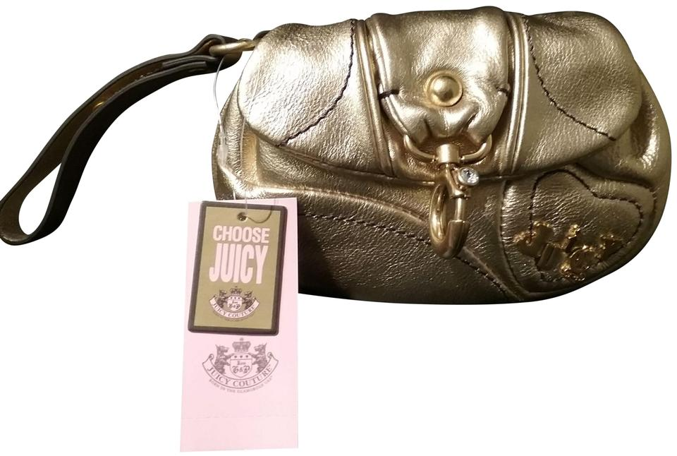 limited price soft and light new high quality Juicy Couture Evening Bag Wristlet Metallic Gold Leather Clutch