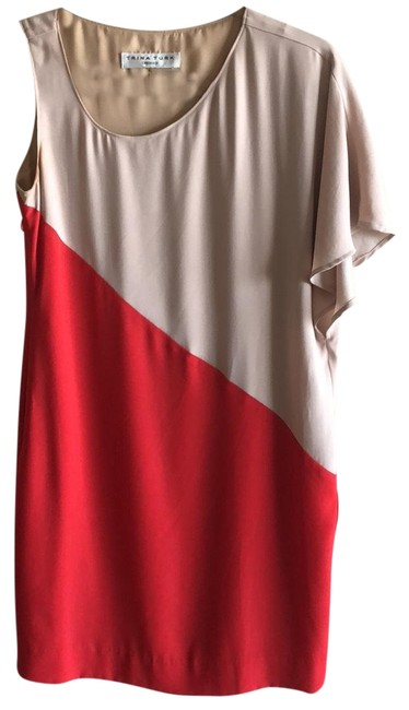 Item - Tan and Red None Mid-length Cocktail Dress Size 2 (XS)