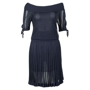 5e16f5edc Gucci short dress Navy Blue Perforated Knit Pleated on Tradesy