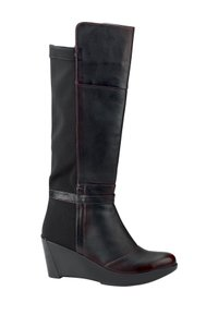 Naot Volcanic Red Black Wedge Tall Boots
