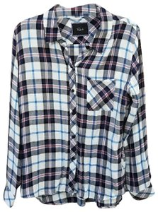 Rails Flannel Button Down Shirt blue/white
