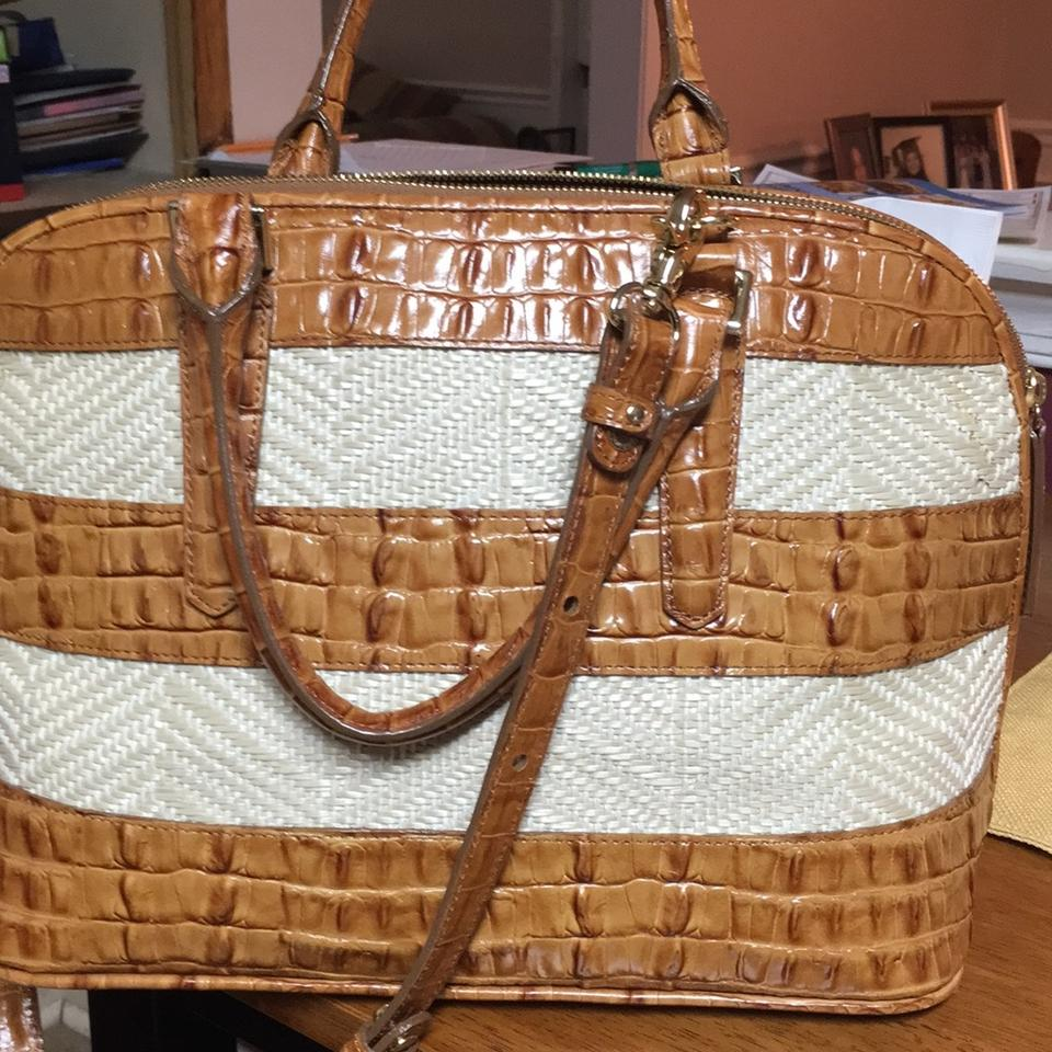 Canvas Satchel Raffia Tan Whiskey and Leather Brahmin Vivian Y0wAqAz